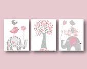 Baby Girl Nursery Decor Pink gray Nursery art kids wall art print Elephant nursery art for Kids Birds nursery tree Set of three prints