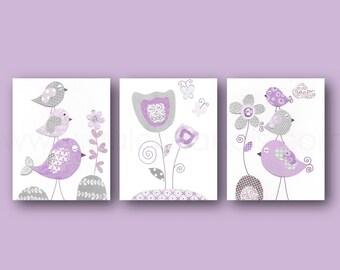 Purple gray Baby girl nursery art nursery wall art - children wall art  kids Birds Flowers Tulip Set of three prints