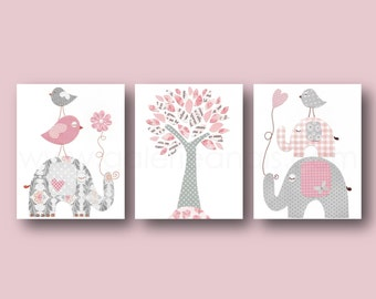 Pink and gray Nursery art Baby Girl nursery Decor Kids wall Art Children's Art Elephant nursery Birds nursery tree Set of three prints