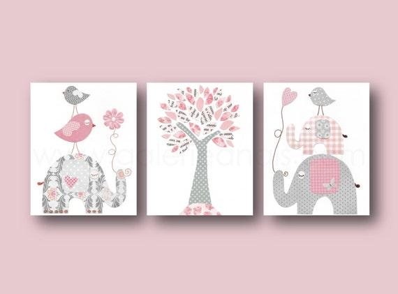 baby girl nursery decor pink gray nursery art kids by galerieanais. Black Bedroom Furniture Sets. Home Design Ideas