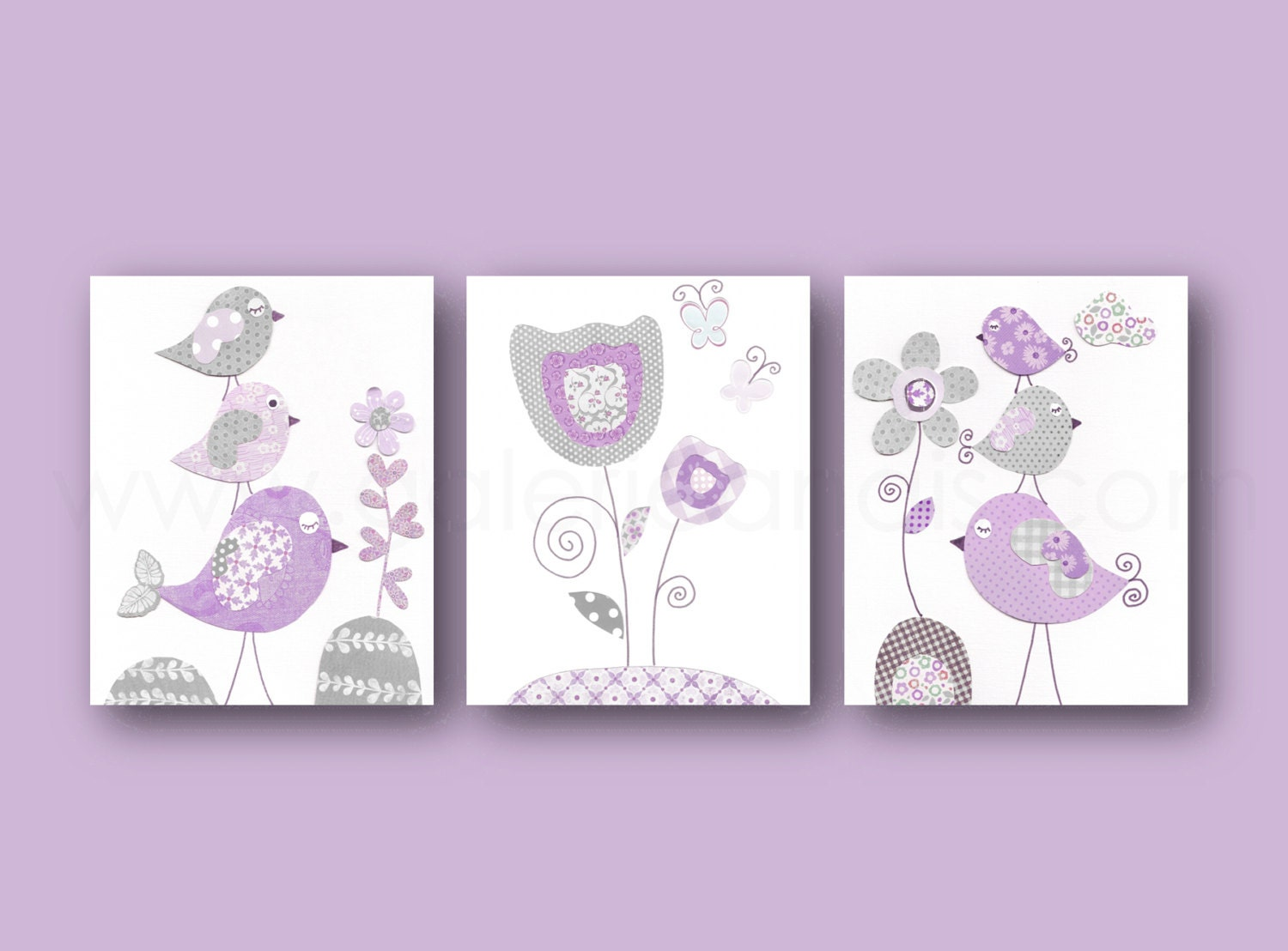 girl nursery wall art purple gray baby girl by galerieanais. Black Bedroom Furniture Sets. Home Design Ideas