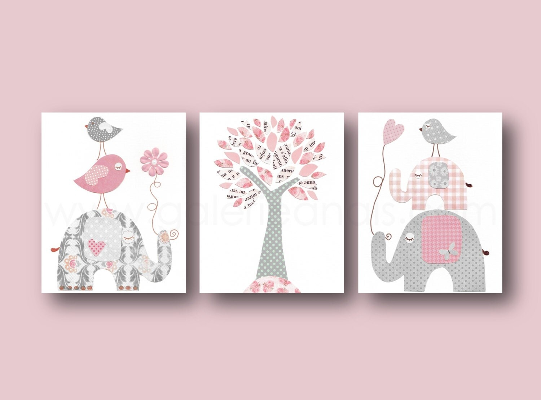 Baby Girl Nursery Decor Pink gray Nursery art kids by