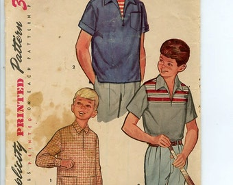 1960s Boy's Shirt Simplicity 1408 Pattern Short Sleeve Pullover Sport Shirt has Collar, Sleeve Variations Size 10 Chest 28""