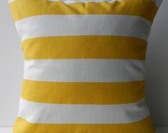 New 18x18 inch Designer Handmade Pillow Case in bright yellow stripe on white.