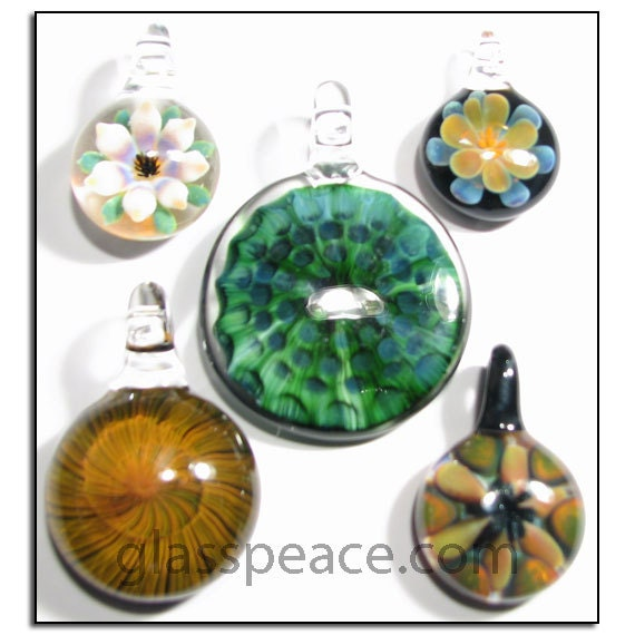 Glass Jewelry Lampwork Pendants Wholesale glass focal beads - Glass Peace jewelry supplies (5794)