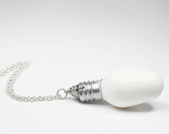 Light Bulb Necklace- Silver & White Upcycled Light Bulb Jewelry, Lightbulb Necklace, Industrial Jewelry, Steampunk Necklace by Tanith Rohe
