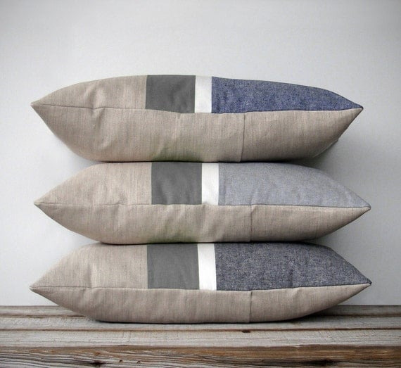 Chambray Striped Lumbar Pillow Minimal Home Decor By