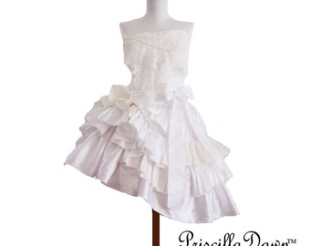 Custom in your size Fantasy Elegant scrap box wedding dress One of a kind sweet layered Fairtytale dolly with bow and pearls