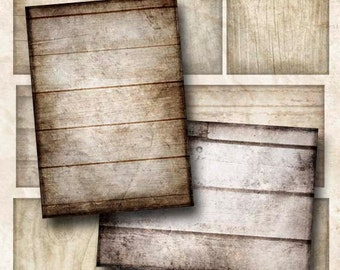 Digital Collage Sheet Weathered Wood 2 Backgrounds Hang Tags ATC ACEO Instant Download ATC125