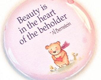 small pocket mirror, Bear and Heart,