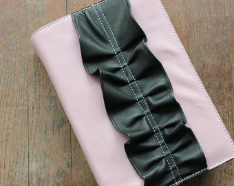 Leather Bible Cover - Pink and Black Leather - Handmade - Custom Fit - 100% Leather