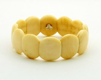 Vintage Art Deco Bone Bracelet Bone Bead Stretch Bracelet Creamy Yellow Elastic Bracelet Faux Ivory Tile Bracelet