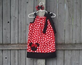 Red Minnie Mouse Pillowcase Dress, Disney Minnie Mouse Polka Dot Dress with Applique, Minnie Mouse Birthday Dress