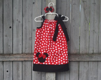 Red Minnie Mouse Pillowcase Dress, Disney Minnie Mouse Polka Dot Dress with Applique, Minnie Mouse Birthday Dress