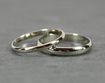 White Gold Wedding Band Set, 14K Palladium White Gold Half Round Rings, Classic Style, Eco Friendly Jewelry, Sea Babe Jewelry