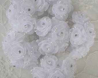 36 Chic WHITE Organza Ribbon Wired Rose Flower w rhinestone Christmas Holiday Bridal Wedding Favor Bow Hair Accessory Applique