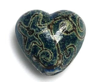 Green w/Stringer Heart Focal Bead - Handmade Glass Lampwork Bead 11808405