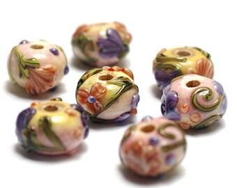 Handmade Glass Lampwork Beads Set 11005801 - Seven Purple w/Orange Flora Rondelle Beads
