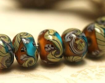 Handmade Glass Lampwork Bead Set - Seven Amber's Ocean Rondelle Beads 10405501