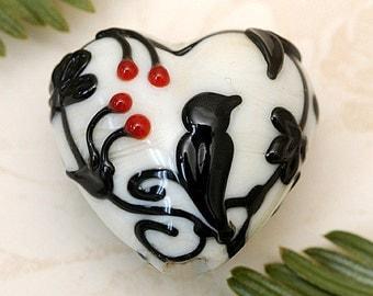 Tranquility Vines Opaque Heart Focal Bead - Handmade Glass Lampwork Bead 11830705