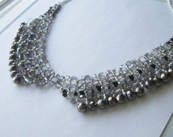 Beaded Silver Grey Collar Necklace