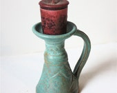 Aqua Stoneware Candlestick for Taper , Tea Light  or Votive Candle Carved Surface OOAK