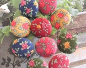 Pink Dark Blue Yellow Red Shabby Rose Floral Flower Fabric Covered Buttons,  Flat Back, CHOOSE SIZE and COLOR