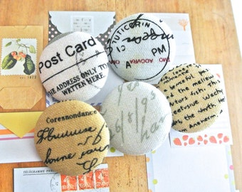 """Handmade Vintage Cream Beige Retro Style Postal Script Words Airmail Stamps Fabric Covered Button, Holiday Fridge Magnet, Flat Back 1.2"""" 5's"""