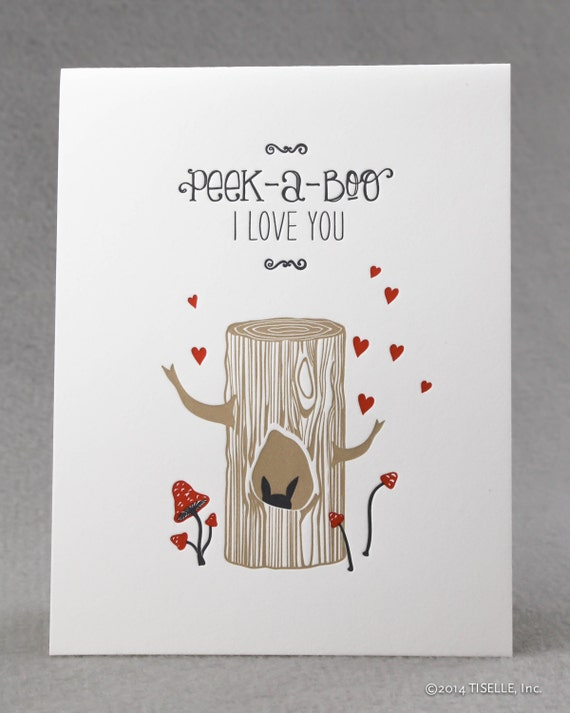 Letterpress Love Card, Peek-A-Boo, I Love You