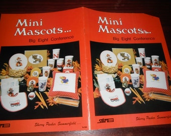 Vintage Counted Cross Stitch Patterns Mini Mascots Big Eight Conference Counted Cross Stitch Booklet S 51