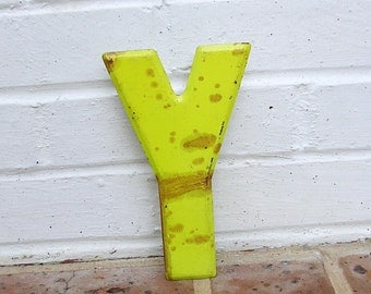 Vintage Metal Sign Metal Letter Y Sign Chippy Painted Letter Y Sign Old Rusty Letter Y Antique Marquee Letter Y