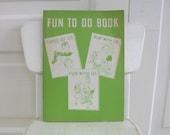 Vintage Child School Workbook Fun To Do Book Green Ephemera Reading Primer Retro
