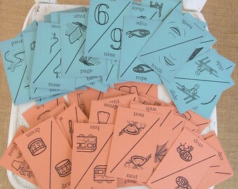 Vintage Flash Cards Game Child Take Matching Sound Home School Ephemera
