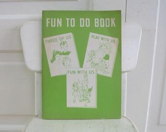 Vintage Child School Workbook, Fun To Do Workbook, Retro Workbook, Vintage Book