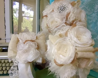 Fabric Bouquet - Brooch Bouquet - Burlap Bouquet - Rustic Bouquet,- Rustic Burlap Bouquet - Wedding Burlap Bouquet, for your burlap wedding