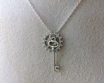 Steampunk Skeleton Key Necklace with Gear