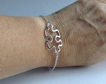 Silver Puzzle Piece Bracelet