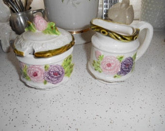 Vintage Shabby Chic Creamer and Sugar Bowl with Lid Porcelain Set Nevco Made in Japan