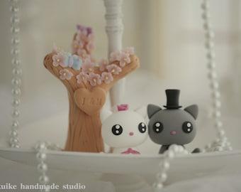 kitty wedding cake topper,cat Wedding Cake Topper---k842