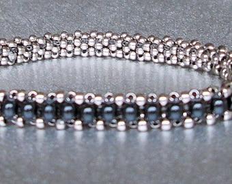 black pearl beadwork bracelet
