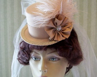 Tan Steampunk Mini Top Hat Wedding Hat Victorian Mini Top Hat Cosplay Hat Halloween Hat