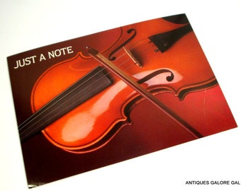 Vintage Postcard, Just a Note, Musical Instrument, Unused, Novelty Note Cards, Set of 2  (305-14)