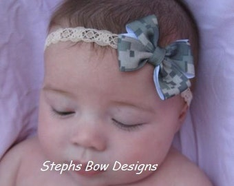 Army Digital Camo Camouflage Dainty Hair Bow Lace Headband Newborn Preemie Toddler Infant Baby Hairbow Military Matches Army ACU Uniform