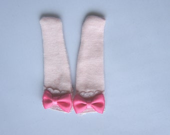 Blythe - Pastel Pink Socks with White Lace and Pink Ribbon - BSOC-031