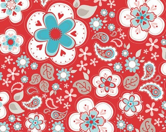Twice As Nice Main Floral / Paisley C3520 Red from Riley Blake Fabrics 1/2 yard (.46m)
