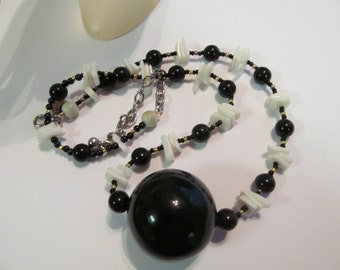 Big black bead necklace