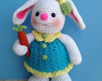 Pdf Crochet Pattern MISS BUNNY (two versions of face) (English only)