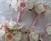 Great Gatsby Wedding Brooch Bridal Bridesmaid Glitz and Glam Bouquet with Blush Pink White Feathers Set