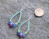 Teardrop earrings  sugalite, blue chalcedony chandelier   with turquoise and chartreuse beads  silver wire wrapped