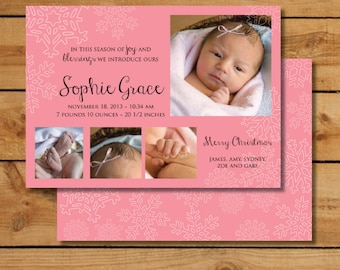 Christmas Birth Announcement  - Joy and Blessings Snowflake-  Custom Photo Holiday Birth Announcement for a Baby Girl